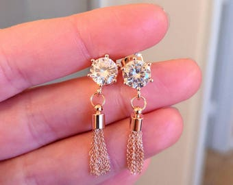 Rose gold cubic zirconia tassle earrings