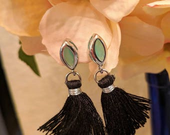 Mint Marquis tassle earrings