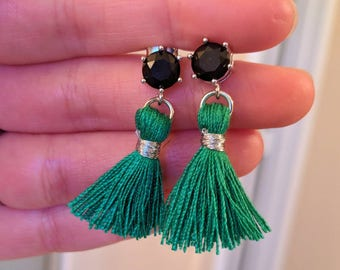 Black and green tassle earrings