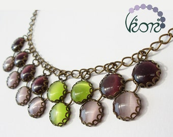 Double row glass necklace - cat's eye glass, purple, olive