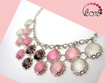 Double row glass necklace - cat's eye glass, pink, rose