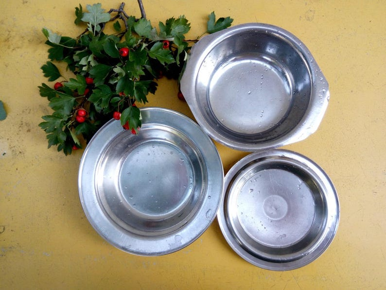 Set  stainless plate Vintage metal cookware Soviet Camping tableware Retro Travel cookware Metal travel tableware hiking utensils