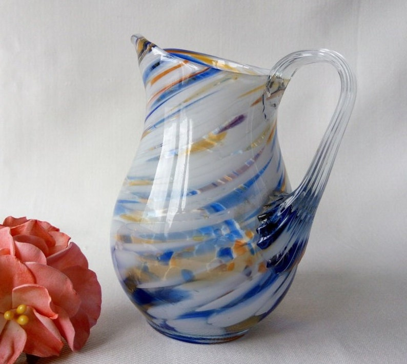 Charmant Small Glass Jug Vintage Glass Decanter Glass Pitcher Juice Colored Glass  Jugful Milk Stained Ewer Water Multicolored Vintage Glass Barware
