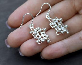 Kinetic dangly earrings, interactive fidget jewellery, large silver, style 2.