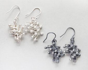 Kinetic dangly earrings, interactive fidget jewellery, large silver, style 1.