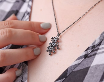 Kinetic silver pendant, tactile, interactive, sensory movable necklace, small, style 2.