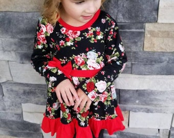 girls boutique christmas tunic girls red floral tunic top girls christmas clothing girls floral clothing girls boutique clothing