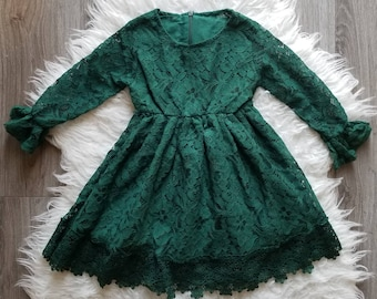 girls forest green lace dress green christmas dress christmas dress holiday dress girls clothing toddler dress toddler clothing - Green Christmas Dress