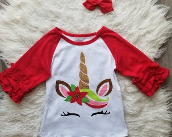 girls unicorn shirt girls christmas shirt red christmas unicorn shirt girls boutique shirt girls boutique clothing toddler clothing