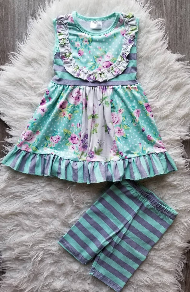 7acc421950b Girls boutique clothing mint floral outfit toddler clothing