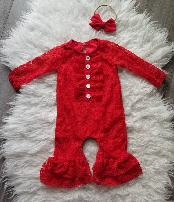 3b70e06641f Baby girl lace romper red lace romper Valentines day romper