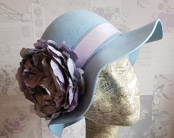 d0bdebbe9fb Eliza - Powder Blue   Lilac Wool Felt Floppy Hat. Perfect for winter  daywear.