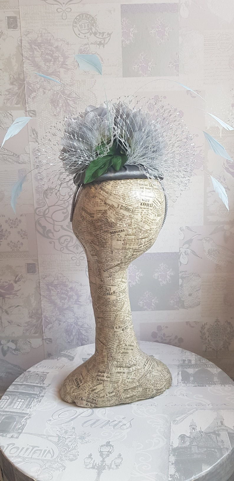 Royal Ascot Silver Grey /& Pale Blue Floral Button PercherFascinator Darcey II Derby day. Perfect for weddings race days