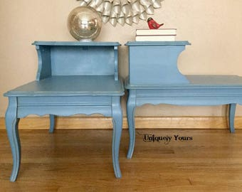Edgy furniture Modern Vintage Twotiered End Tables Mozart Blue Gold Chalk Paint Antique Wash Raised Stencil French Country Shabby Chic Traditional Edgy Andreasuniquelyyours Etsy Edgy Furniture Etsy