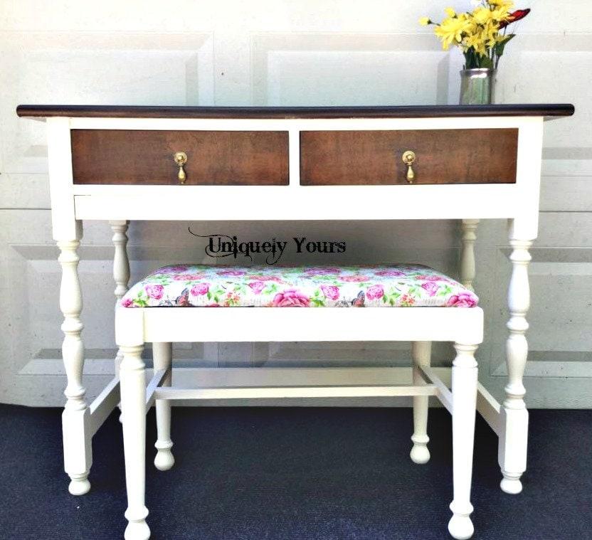 Vintage Vanity Floral Bench Stain Wood Top