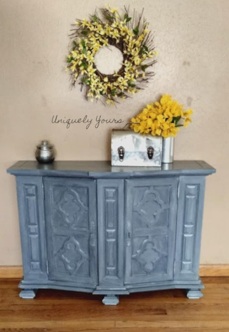 Steel Gray Industrial Modern Entryway Cabinet Small Buffet TV Console  Coffee Bar Hand Painted Metallic