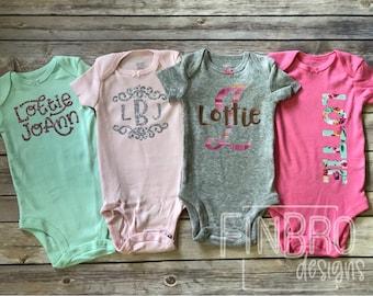 BABY SHOWER gift GIRL bodysuit spring gift set with Custom Gift Box - set of 4 monogram personalized