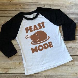 Kids Funny Thanksgiving T Shirt Feast Mode Graphic Tee Turkey Leg Shirt Legs Boy