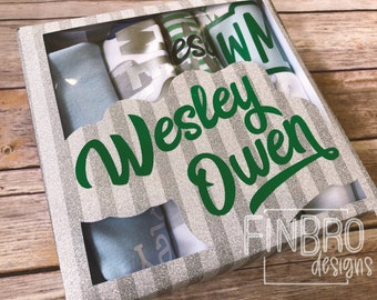 BABY SHOWER gift BOY bodysuit gift set with Custom Gift Box - set of 4 monogram personalized