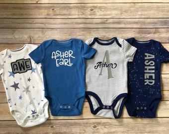 BABY SHOWER gift BOY blue bodysuit gift set with Custom Gift Box - set of 4 monogram personalized