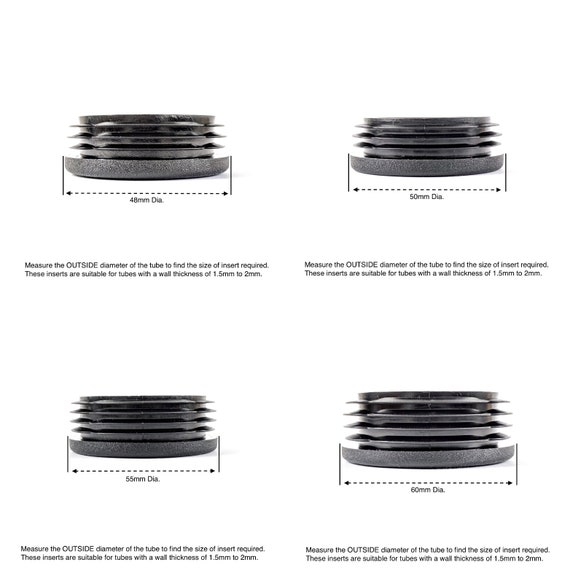 22mm diameter Round ribbed black plastic insert plugs end caps made in Germany.