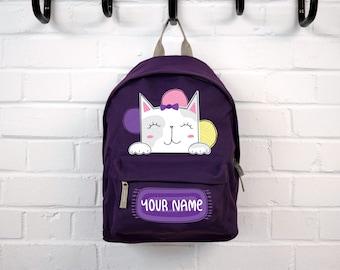 53ca6d21b66e Personalised Kids Backpack Cute Cat - Purple