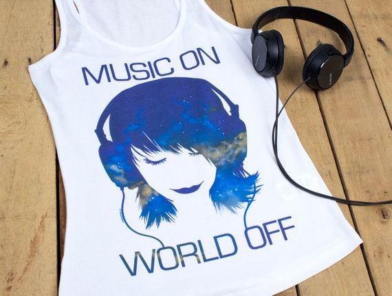 Damen Tank Top Music On World Off weiß