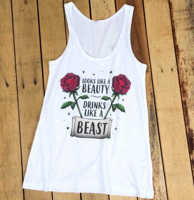 Looks Like A Beauty Drinks Like A Beast Ladies White Floaty Vest