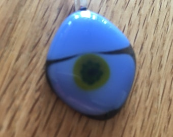 Blue fused glass pendant with yellow  flower design