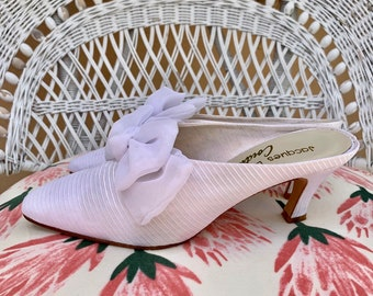 7c9bec3a2 Jacques Levine Couture 60s wedding large white bow mules