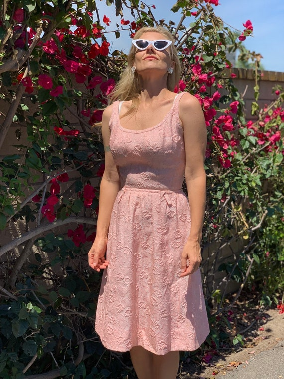 60s brocade pink dress suit - image 2