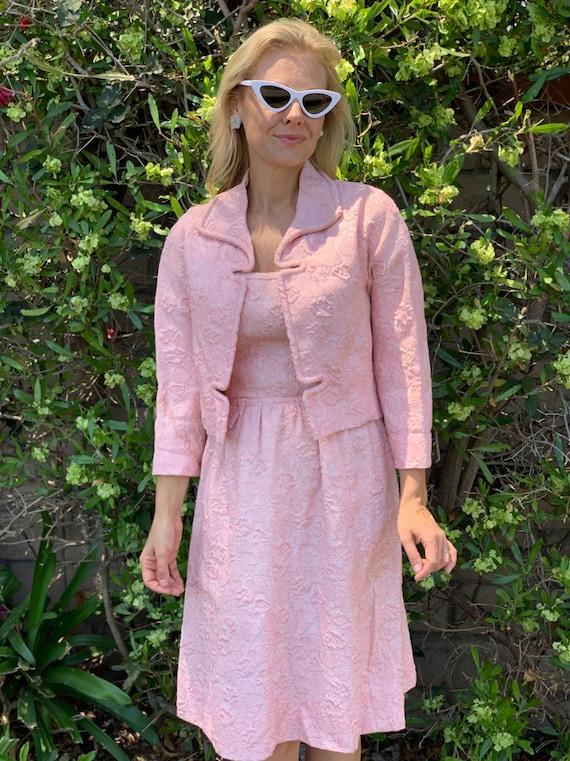 60s brocade pink dress suit - image 1