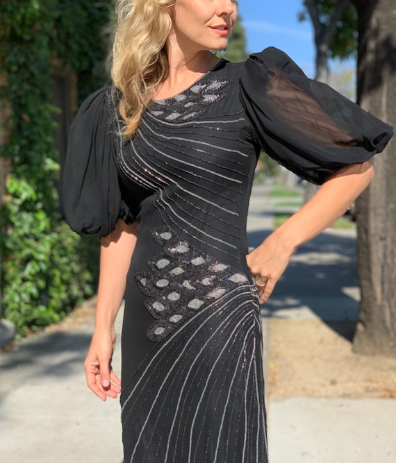 Oleg Cassini black beaded dress with bishop sleeve