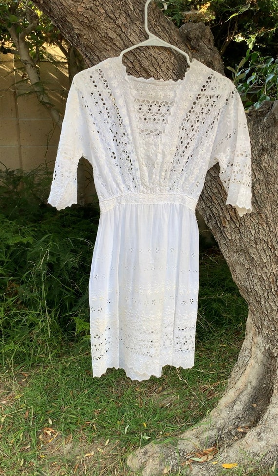 Antique cotton embroidered eyelet summer dress wh… - image 4