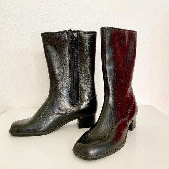 60s fleece lined mod vinyl boots