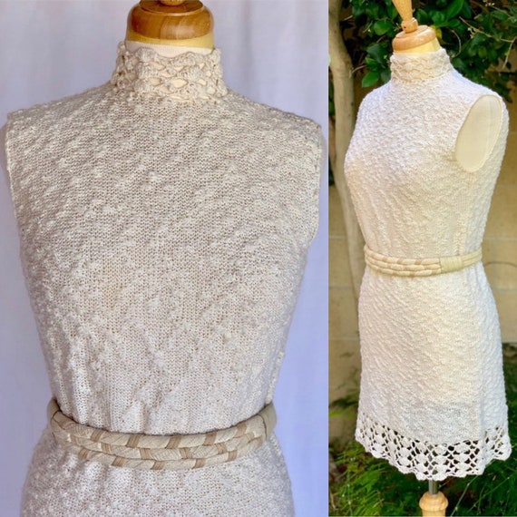 60s knit dress oatmeal St John Knits textured mini