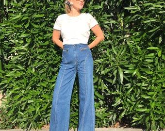 70s high-waist, double zippers, curvy side-seam bellbottoms in indigo blue denim