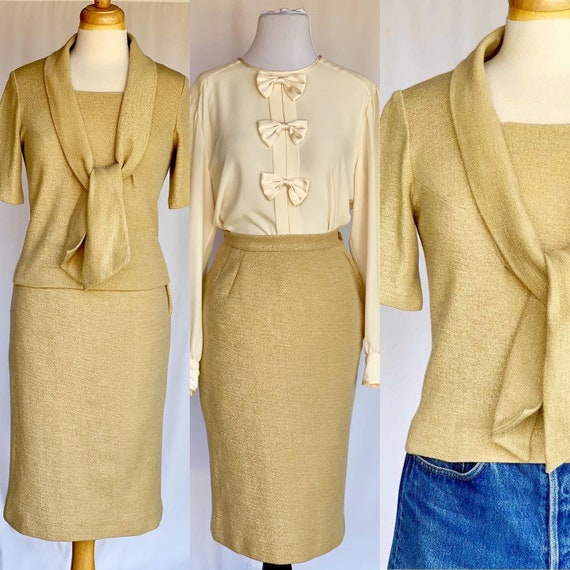 Virgin Wool Gold Metallic Sparkle Double Knits by