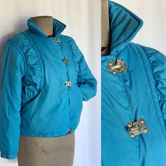80s Jordache Blue Puffer Coat XXS/XS