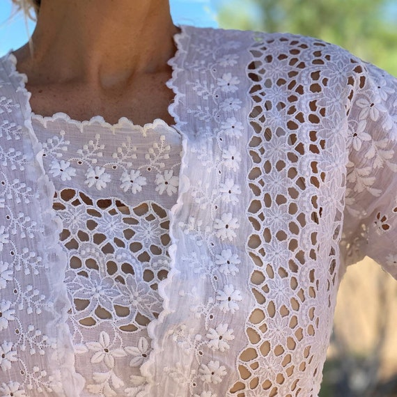 Antique cotton embroidered eyelet summer dress wh… - image 2