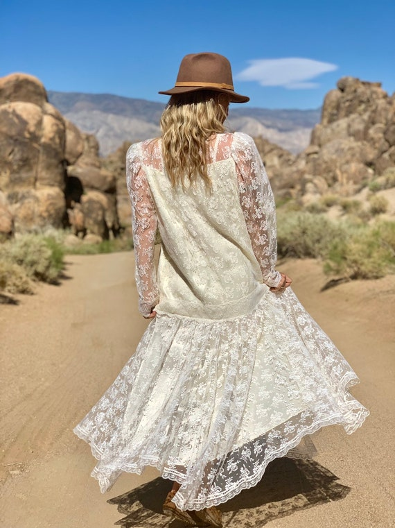 Jessica McClintock white lace gown