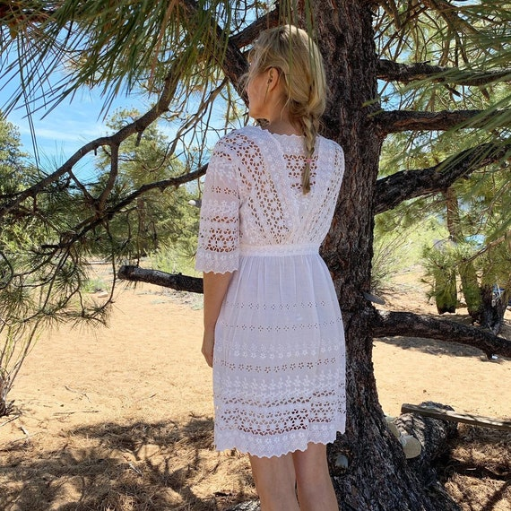 Antique cotton embroidered eyelet summer dress wh… - image 3