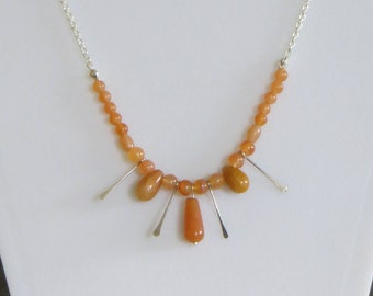 Carnelian and silver dangle necklace