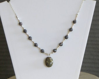 gray stone and silver bead necklace