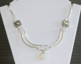 double line moonstone doughnut necklace