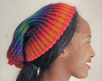 667eb77d3d2 Teen Adult Knitted Beanie with Rainbow Colours - Silky with a subtle sheen  - Perfect for Summer and Autumn - UK Seller - Free UK Shipping