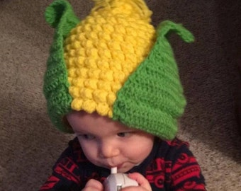 1e149aacefd Crochet Baby Hat Ear of Corn with Husks-Leaves