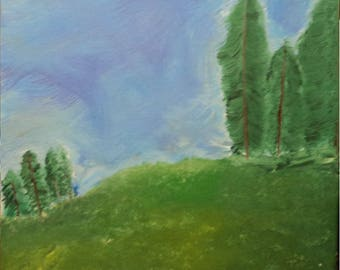 Meadow with trees (Original)