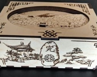 Mt Fuji keepsake box, wood etched, Relief cut scene, sliding latch, hidden hinge, gift, present, Japanese Kanji,