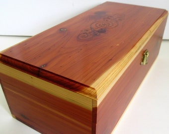"Cedar Wood Treasure Box 12"" with Latch, Imprint on Hinged Lid"